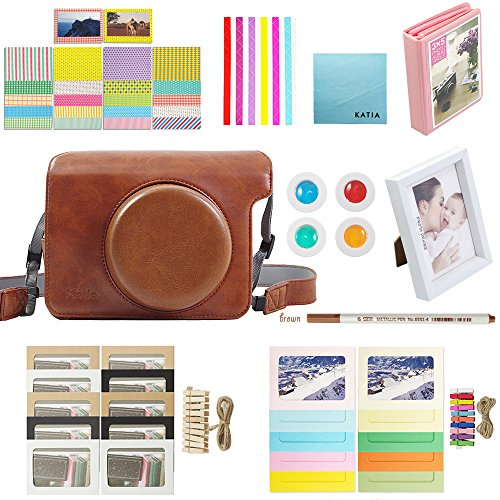 Katia Instant Camera Accessories for Fujifilm Instax Wide 300 Instant Film Camera - (Fuji Wide 300 Case with strap, Photo Album, Frame, Selfie Len, Filters, Stickes & more) - Brown by Katia