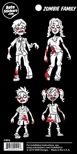 [Zombie Family Vinyl Car Stickers 4 Decals] (Zombie Family Decals)