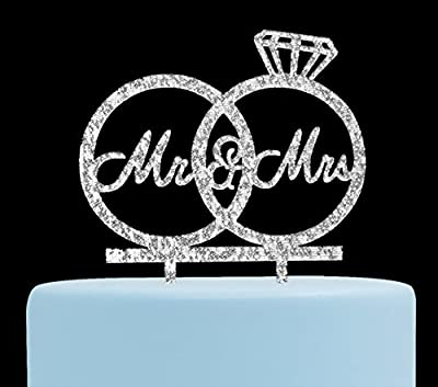 Mr & Mrs Cake Topper,Bride and Groom Cake Topper, Wedding Anniversary Rings, Engagement Party Decorations (Silver)