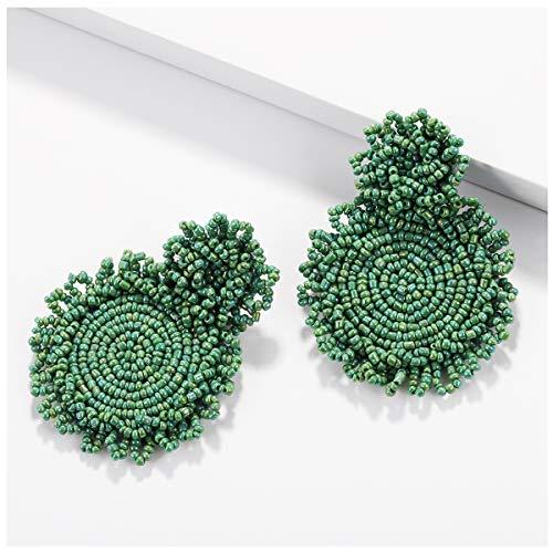 (BEST LADY Statement Drop Earrings for Women - Bohemian Beaded Round Earrings, Idea Gift for Mom, Sister and Friends (Dark Green))