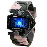 Military Cool LED Display Colorful Light Digital Sport Water-proof Stealth fighter Style Wrist Watches with Silicone Strap - Grey