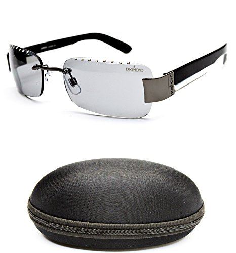 D493-cc Diamond Eyewear Fashion Metal Rimless Sunglasses (503 Gunmetal/Black)