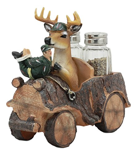 Ebros Open Season Whitetail Buck Angry Deer On Hunter's Car Glass Salt and Pepper Shakers Holder Figurine Decor 6.5
