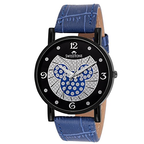 Price comparison product image Swisstone LR044 Blue Leather Strap Wrist Watch for Women