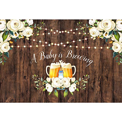 Laeacco 8x6.5ft Baby Shower Backdrop A Baby is Brewing Flower Edge Light Lamp Beers Wooden Plank Boys Girls Mother-to-Be Newborn Baby Party Celebration Decor Banner Background Photo Props