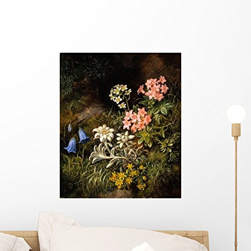 Wallmonkeys Edelweiss and Other Alpine Flowers Theodor Petter Wall Decal Peel and Stick Graphic WM322728 (18 in H x 15 in W)