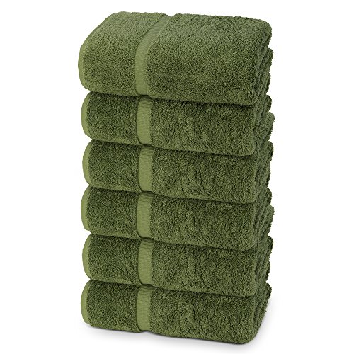 Hand Bright Green (Indulge Linen Extra Soft Hand Towels, Set of 6, 100% Turkish Cotton, Safari Green)