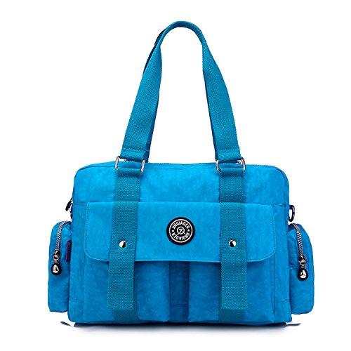 Satchel Shoulder Bag Lightweight Bag Messenger Bookbags Fashion Handbag 3 Cross Women for Body Bag Ladies MeCooler Waterproof Blue O1vqz6w6