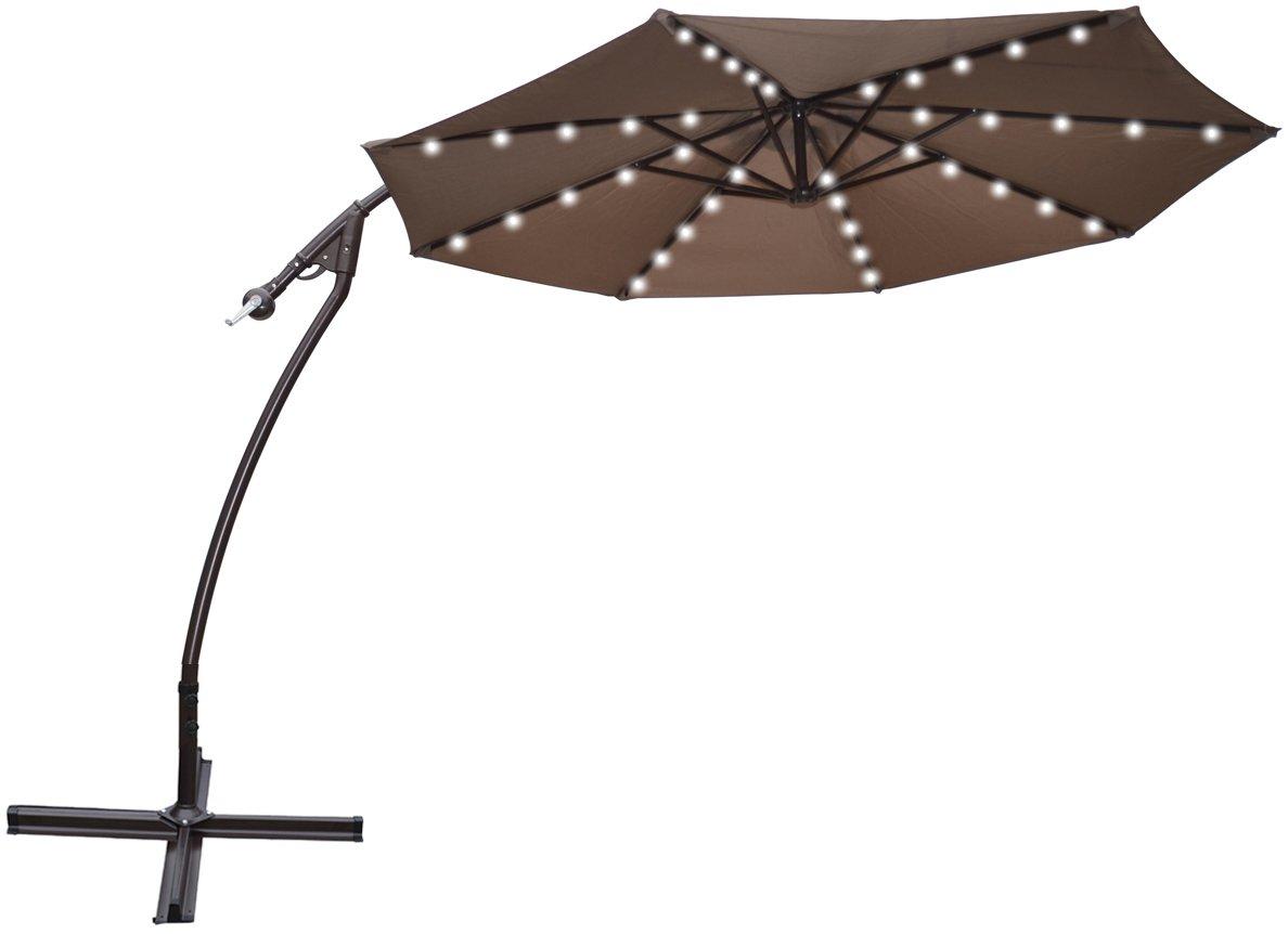 amazoncom strong camel 9u0027 cantilever solar 40 led light patio umbrella outdoor garden aluminium marketblack offset patio umbrella patio