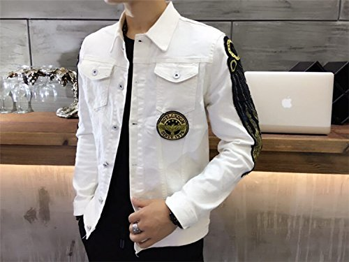Chaqueta de dril de algodón de manga larga chaqueta denim versión coreana de hombres chaqueta de dril de algodón de manga larga hombre de pluma, parche blanco ,XXL
