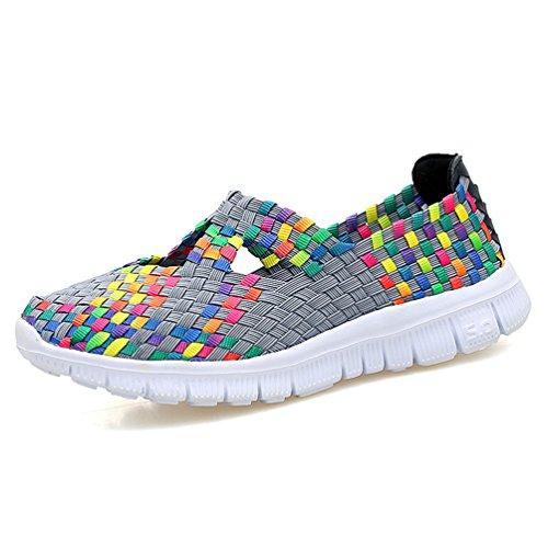 Elastic Womens Shoes - Sanearde Women Slip on Walking Shoes Woven Elastic Mary Jane Flat Lightweight Fashion Sneakers (6, Gray)