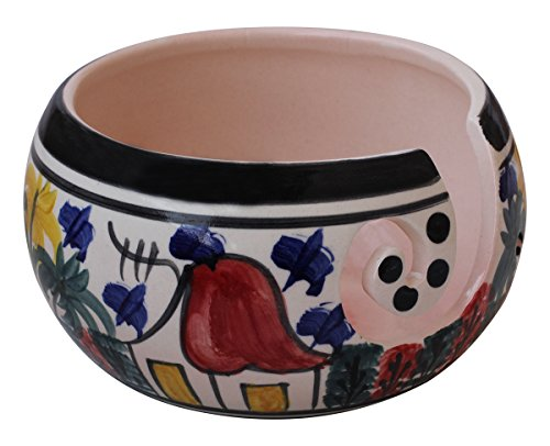 Deal of The Day - 7 Inch Handcrafted Ceramic Knitting Yarn Bowl, Yarn Storage, Stop Yarn from Rolling, Knitting and Crochet Yarn Holder