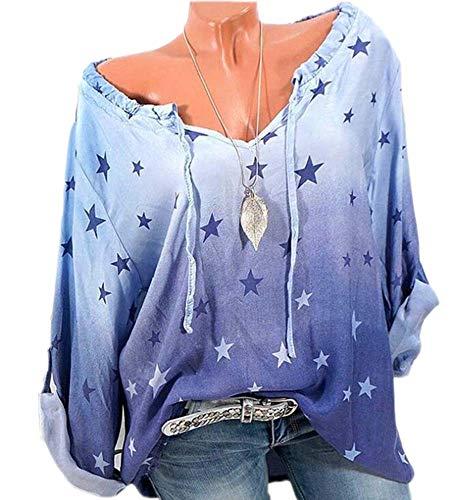 V Femmes Imprim Bleu Longues Domorebest Blouse Manches 3 Ciel xISwdTZqT