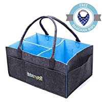 BEBEMODE – BABY DIAPER CADDY STACKERS - FREE BABY BIB BANDANA – Large Portable Foldable Storage Tote | Nursery Organizer Bag for Changes, Wipes, Bottles, Toys | Neutral Baby Shower Registry Gift