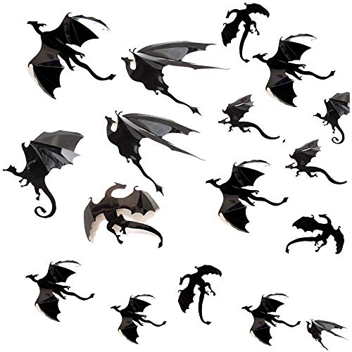 Yusongril DIY Halloween Party Supplies PVC 3D Decorative Scary Bat Dragon Wall Decal Wall Sticker Halloween Eve Decor Home Window Decoration Set (Dragon (42pcs)) ()
