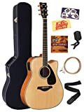 Yamaha FGX820C Acoustic-Electric Guitar Bundle with Hard Case, Tuner, Strap, Strings, Austin Bazaar Instructional DVD, Picks, and Polishing Cloth - Natural