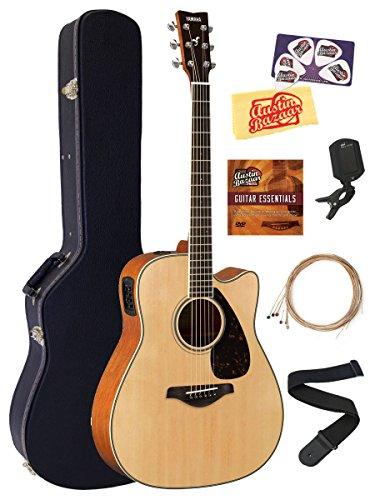 Yamaha FGX820C Acoustic-Electric Guitar Bundle with Hard Case, Tuner, Strap, Strings, Austin Bazaar Instructional DVD, Picks, and Polishing Cloth – Natural