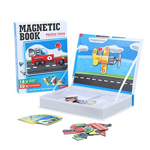 Becko US Fondear Magnetic Puzzle Jigsaw Book / Amazing Educational and Creative Toddler Toy, Comes with 50 Magnetic Pieces and 18 Cards - Transportation