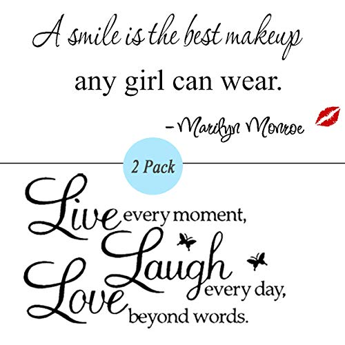 2 Pack Live Every Moment Laugh Every Day Love Beyond Words Vine Wall Sticker | Wall Decals Quotes A Smile is The Best Makeup Any Girl Can Wear Letter Stickers]()