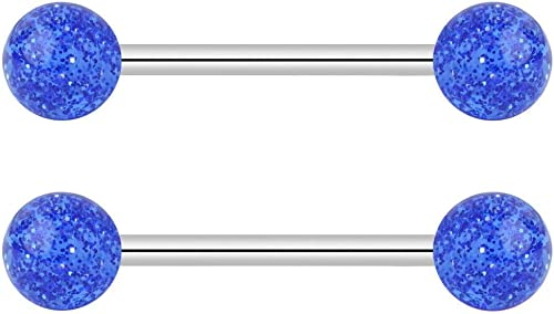 5//8 Inch Flexible Acrylic Nipple or Tongue Ring Barbell Set Plus Free Bonus Barbell Forbidden Body Jewelry 14G 16mm