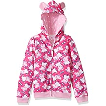 Peppa Pig girls Little Girls All Over Print Hoodie W/3d Ears and Bow
