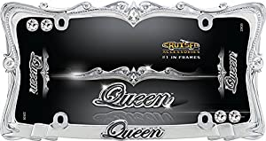 cruiser accessories 22630 chromeclear queen license plate frame with fastener caps