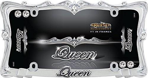 Cruiser Accessories 22630 Queen License Plate Frame, Chrome/Clear w/fastener caps