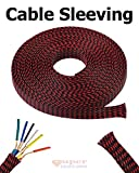 20 FT 1/4'' Black Red Expandable Wire Cable Sleeving Expandable Braided Sleeving Braided Cable Sleeve Expandable Braided Cord Sleeve Cord Managment Super-Deals-Shop