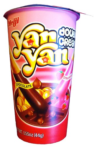 Meiji Yanyan, Double Cream Snack, Chocolate/Strawberry, 1.55-Ounce Packages (Pack of 20)