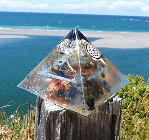 LIMITED EDITION Black Tourmaline, Bone Turtle, Blue Kyanite Positive Energy Orgone Pyramid with Pewter Gingko Leaf.