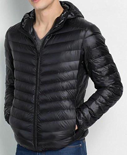 Mens Jackets Black Coat Down Hodded L Oversize Lightweight EKU Udqw6wB
