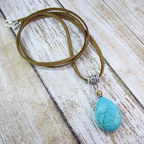 (Boho Leather and Turquoise Pendant Necklace Long with Dyed Magnesite Stone, Suede Cord, Gift Idea )