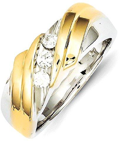 IceCarats 14k Two Tone Yellow Gold Diamond Mens Band Ring Size 10.00 Wedding (Designer Two Tone Diamond Band)