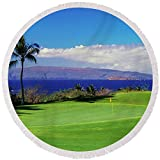 Pixels Round Beach Towel With Tassels featuring ''Palm Trees In A Golf Course, Wailea'' by Pixels