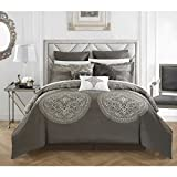Traditional Vintage Style Grey Silver Queen 13 Piece Bed In Bag With Sheet Set Beautiful Reversible Soft Warm Rich Design Gorgeous Color Comfortable Attractive Bedroom Decor Luxurious Addition Bedding