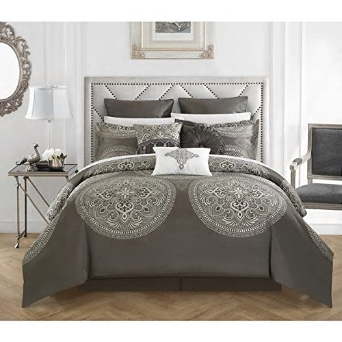 Traditional Vintage Style Grey Silver Queen 13 Piece Bed In Bag With Sheet Set Beautiful Reversible Soft Warm Rich Design Gorgeous Color Comfortable Attractive Bedroom Decor Luxurious Addition Bedding by Patriot