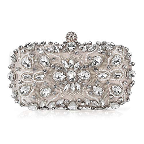Chichitop-Women-Noble-Crystal-Beaded-Evening-Bag-Wedding-Clutch-Purse-Apricot-Small