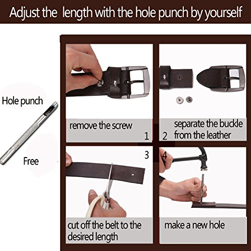 BISON DENIM Classic Belts For Men - Mens Genuine Leather Belt for Dress & Jeans Brown 125cm by BISON DENIM (Image #6)