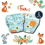 Paw Paw Reusable Fabric Diapers/Washable Cloth Diapers with Inserts (Fox Print, Large (8-12 Kg))