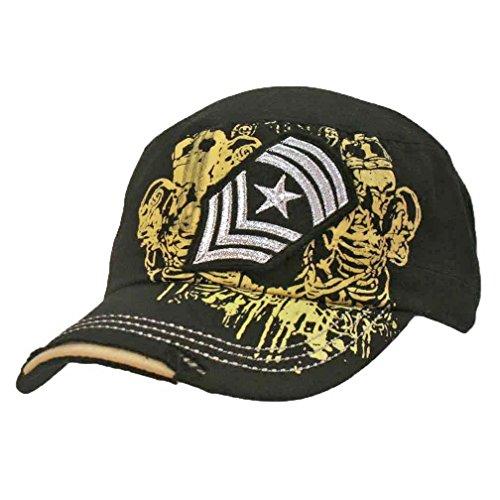 Luxury Divas Black Vintage Look Military Cadet Cap Hat With Patch