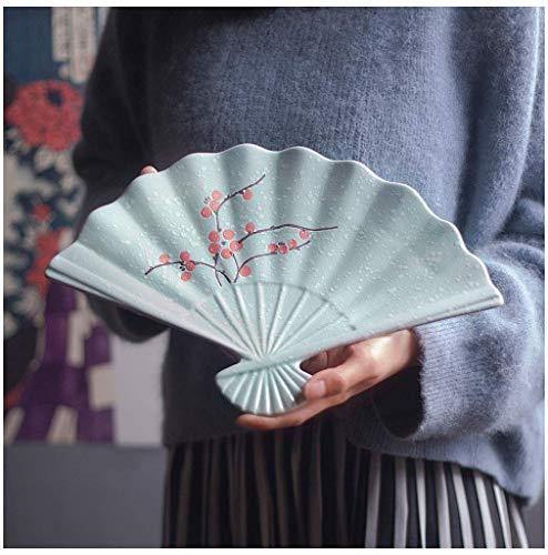 ChenDZ Creative Japanese style and wind tableware underglaze hand-painted speciality restaurant ceramic sushi plate fan-shaped dish dish sashimi plate (Color : Red plum)