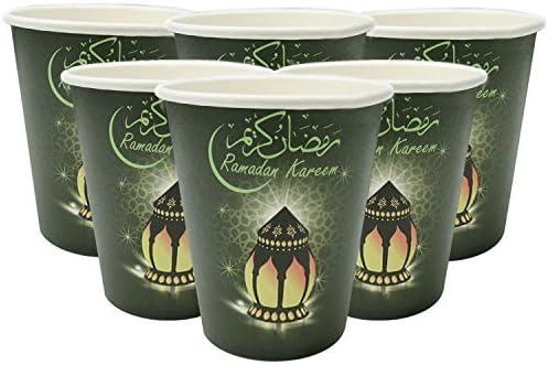 Noir Et Vert Kareem Lanterne Eid Mubarak Jetable Carton Gobelets Ensemble de x 10 Ramadan Kareem