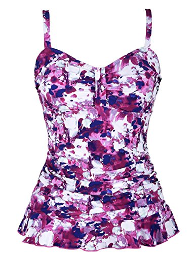Hilor Women's 50's Retro Ruched Tankini Swimsuit Top with Ruffle Hem Pink Floral (Pink Floral Tankini)