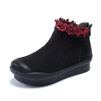 ZHRUI Botines Planos de Cuero con Cremallera y Botines de Mujer Flower Boots (Color :