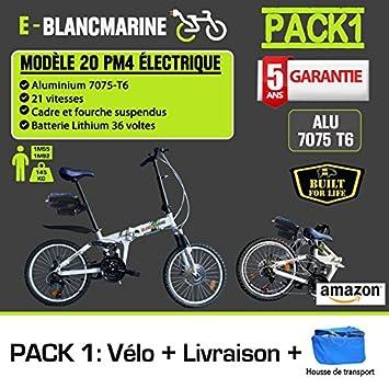Bicicleta plegable eléctrica color blanco Marina Modelo 20pm4, 21 velocidades – Pack 1 (con