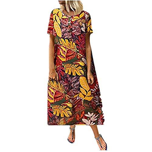 Retro Long Maxi Party Dresses Fashion Women Loose Short Sleeve O-Neck Print Yellow ()