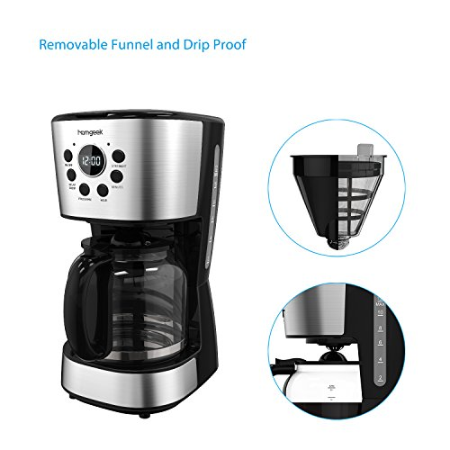 Homgeek 12-Cup Coffee Maker Programmable Drip Coffee Machine with Glass Coffee Pot and Basket Coffee Filter,Stainless Steel Black