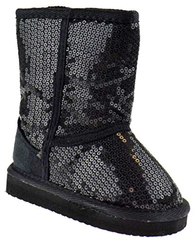 Baby Shearling Boots - Ositos FEBE Baby Girls Sequin Faux Fur Mid Calf Shearling Boots Black 5