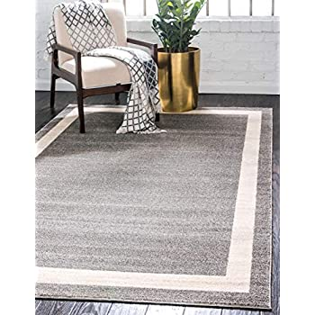 Amazon Com Well Woven Frontier Border Grey Modern Plain