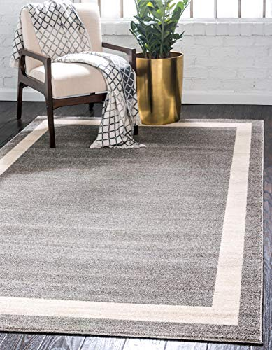 Unique Loom Del Mar Collection Contemporary Transitional Area Rug, 5′ x 8′, Gray/Ivory